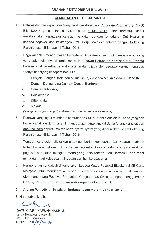 Sme Corporation Malaysia Penjelasan Berkaitan Pelaksanaan Kemudahan Cuti Kuarantin Di Bawah Pekeliling Perkhidmatan Bilangan 11 Tahun 2016 Untuk Jangkitan Influenza